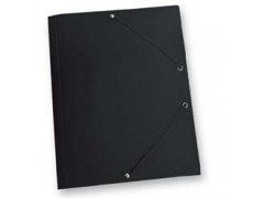 Mapa tříklopá PVC s gumou neprůhledná černá, desky na spisy s gumou