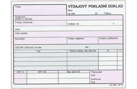 Výdajový pokladní doklad A6 OP37