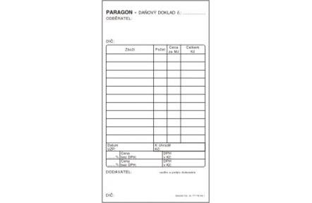 Paragon daňový doklad obyčejný ET010 80x150mm 50 listů bez propisu s DPH
