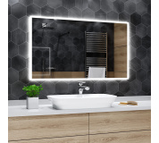 Koupelnové zrcadlo s LED podsvícením 100x50 cm BOSTON, hranaté