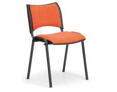Konfereční židle čalouněná Smart oranžová, černý kov, židle konferenční