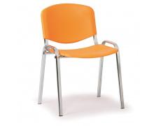 Konfereční židle plastová ISO oranžová, chromovaný kov židle konferenční