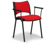 Konfereční židle čalouněná Smart s područkami červená, černý kov, židle konferenční