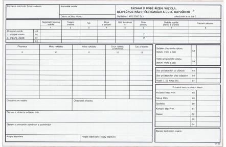 Záznam o provozu vozidla nákl.dopravy číslovaná OP166