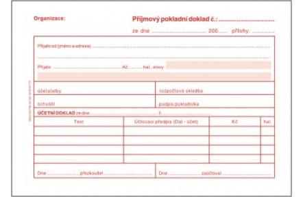 Příjmový pokladní doklad i pro podvojné účetníctví samopropisoavcí PT030
