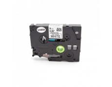 Kompatibilní páska Brother HGe-221, 9mm x 8m, černý tisk/bílý podklad, vysokorychlostní