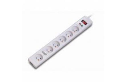 Prodlužovací kabel s přepěťovou ochranou, 1,8 m, 6 zásuvek, LED indikace, LOGO