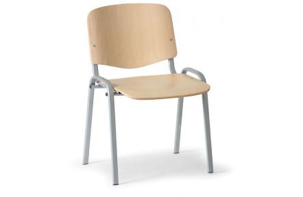 Konferenční židle dřevěná ISO, šedý kov , židle konferenční