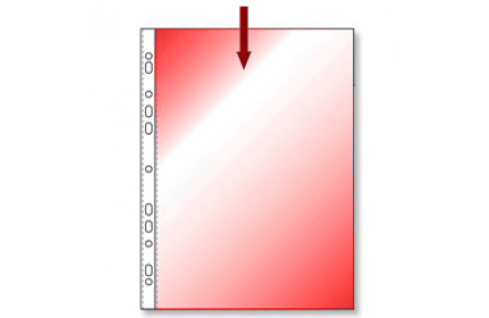 Obal na doklady s EURODĚROVÁNÍM A4 hladký červený transparentní 100ks