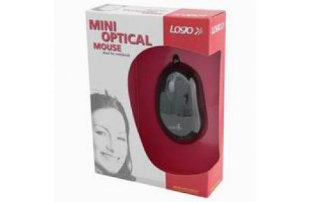 Minimyš, LOGO optická, 3tl., 1 kolečko, USB, černá, 800dpi, mini , myš mini