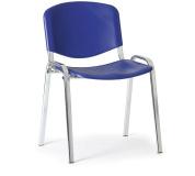 Konfereční židle plastová ISO modrá, chromovaný kov židle konferenční