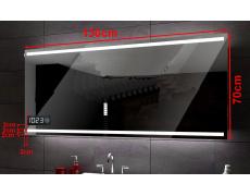 Koupelnové zrcadlo 130x70 cm DENVER hodiny, bez obestavby, bez led a bez trafa