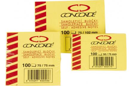 Samolepící bloček žlutý 40x50mm CONCORDE 2ks