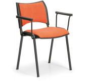 Konfereční židle čalouněná Smart s područkami oranžová, černý kov, židle konferenční