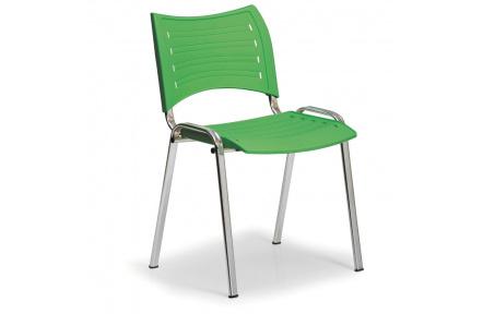 Konfereční židle plastová Smart zelená,chromovaný kov, židle konferenční