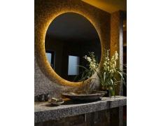 Koupelnové zrcadlo s LED podsvícením Ø 80 cm podsvětlené