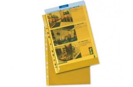 Obal na doklady s EURODĚROVÁNÍM A4 hladký žlutý transparentní 100ks