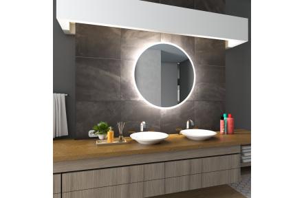 Koupelnové zrcadlo DELHI s LED podsvícením Ø 60 cm podsvětlené