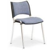 Konfereční židle čalouněná Smart šedá, chromovaný kov, židle konferenční