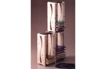 Box na 20 ks CD, šedý, věž, stohovatelný svisle i vodorovně,  plastový stojan na CD