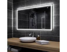 Koupelnové zrcadlo s LED podsvícením 130x110 cm ATLANTA, hranaté