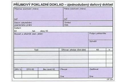 Příjmový pokladní doklad zjedn.daňový doklad NCR OP304