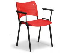 Konfereční židle plastová Smart s područkami červená, černý kov, židle konferenční