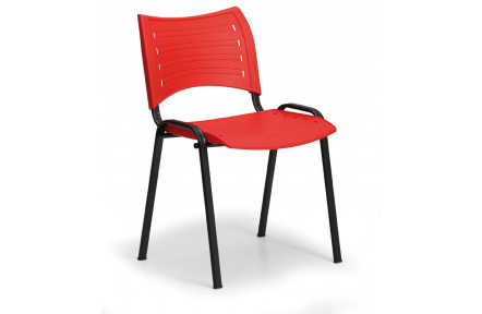 Konfereční židle plastová Smart červená,černý kov,  židle konferenční
