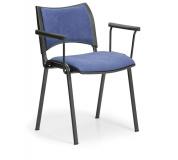 Konfereční židle čalouněná Smart s područkami modrá, černý kov, židle konferenční