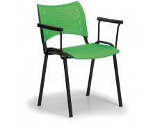 Konfereční židle plastová Smart s područkami zelená, černý kov, židle konferenční