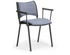 Konfereční židle čalouněná Smart s područkami šedá, černý kov, židle konferenční