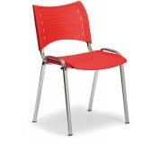 Konfereční židle plastová Smart červená,chromovaný kov, židle konferenční