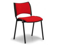 Konfereční židle čalouněná Smart červená, černý kov, židle konferenční