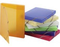 Krabice tříklopá s gumou zelená , box na spisy s gumou