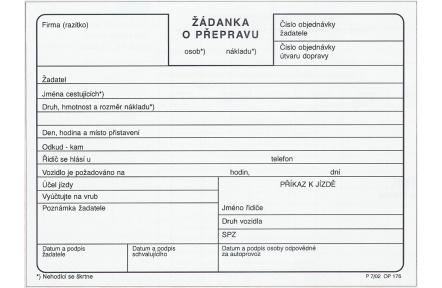 Žádanka o přepravu OP176