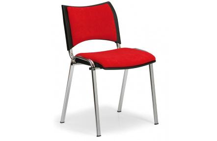 Konfereční židle čalouněná Smart červená, chromovaný kov, židle konferenční