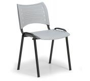 Konfereční židle plastová Smart šedá, černý kov, židle konferenční