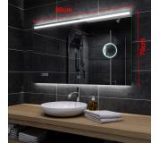 Koupelnové zrcadlo s LED podsvícením 80x70cm GIZA P