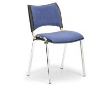 Konfereční židle čalouněná Smart modrá, chromovaný kov, židle konferenční