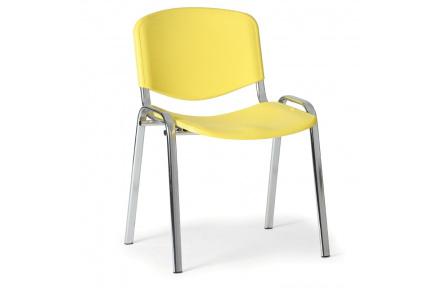 Konfereční židle plastová ISO žlutá, chromovaný kov židle konferenční