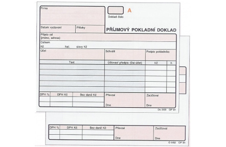 Příjmový pokladní doklad NCR číslovaný OP81