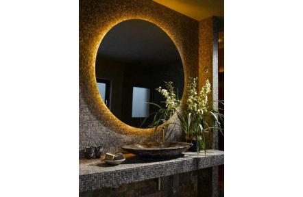 Koupelnové zrcadlo  s LED podsvícením Ø 90 cm podsvětlené