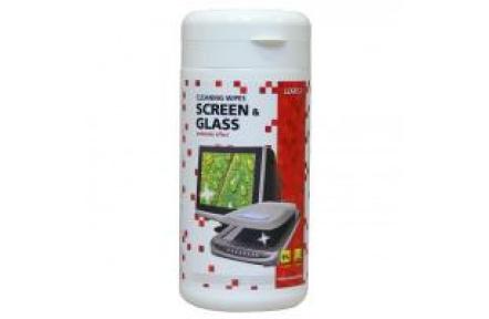 Čistící prostředky trhací ubrousky na obrazovky, dóza, 100ks