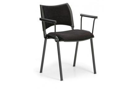 Konfereční židle čalouněná Smart s područkami černá, černý kov, židle konferenční
