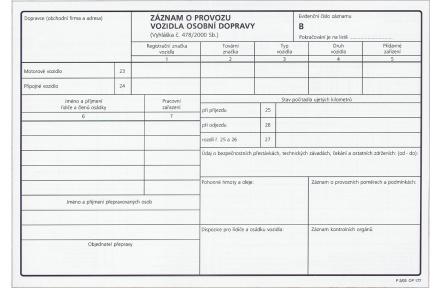 Záznam o provozu vozidla osobní dopravy číslovaný OP177