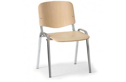 Konferenční židle dřevěná ISO, chromovaný kov , židle konferenční
