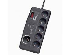 Přepěťová ochrana Master/Slave přepěťová ochrana, 2 m, 5+1 zásuvka, LED indikace, LOGO