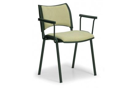 Konfereční židle čalouněná Smart s područkami zelená, černý kov, židle konferenční