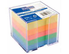 Zásobník s barevnými papíry DONAU ,zásobník + barevná náplň 8,5x8,5cm  900listů