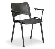Konfereční židle plastová Smart s područkami černá, černý kov, židle konferenční
